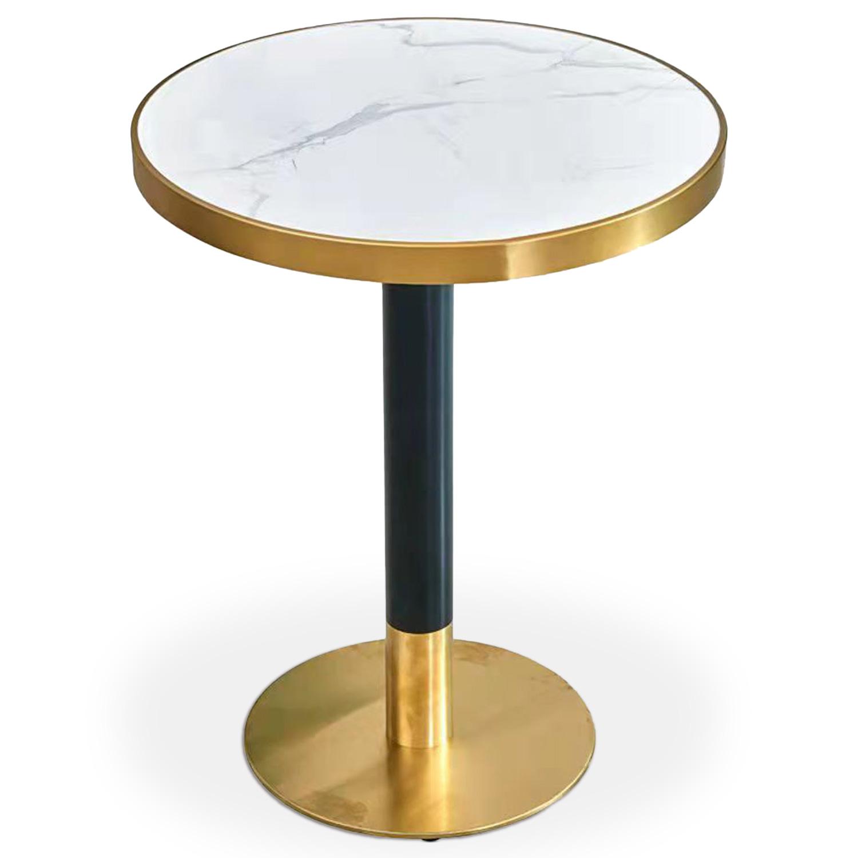 Table ronde Greta en bois Effet Marbre et Or